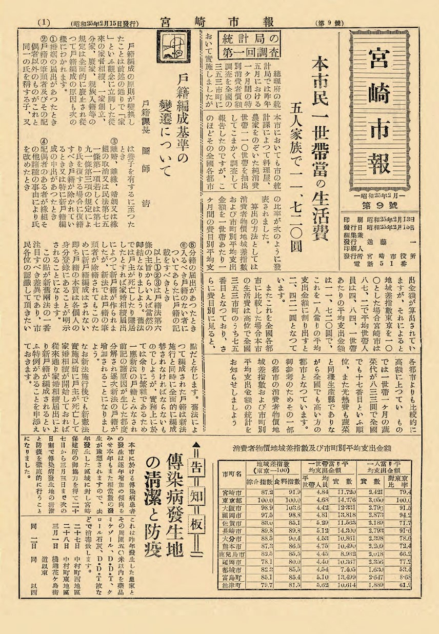 宮崎市報 9号 1950年2月号の表紙画像