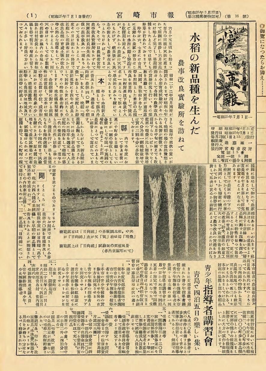 宮崎市報 16号 1950年7月号の表紙画像