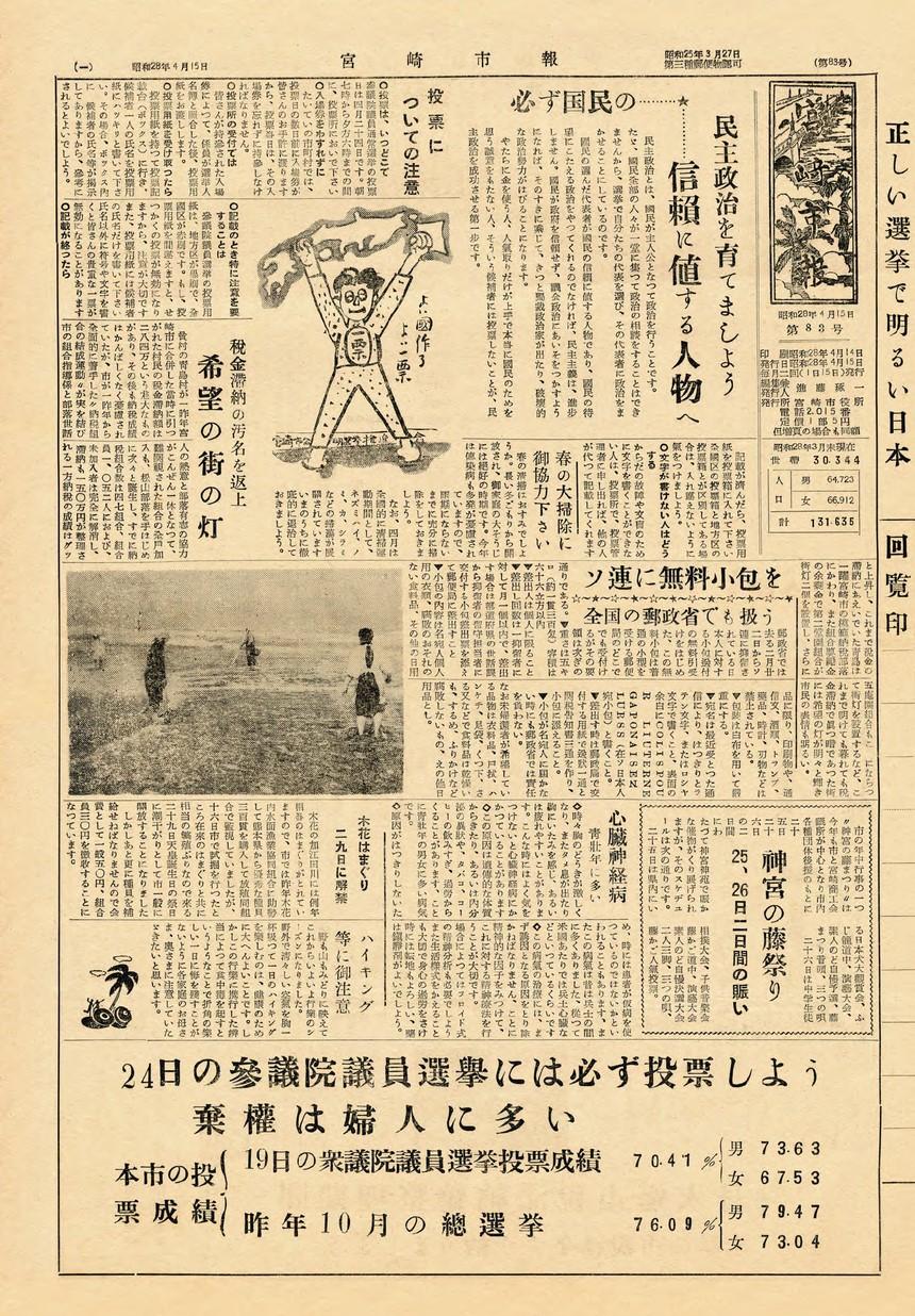 宮崎市報 83号 1953年4月号の表紙画像