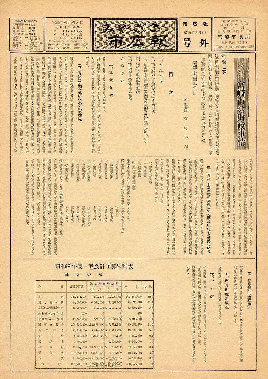みやざき市広報 宮崎市財政事情号  1959年5月号の表紙画像